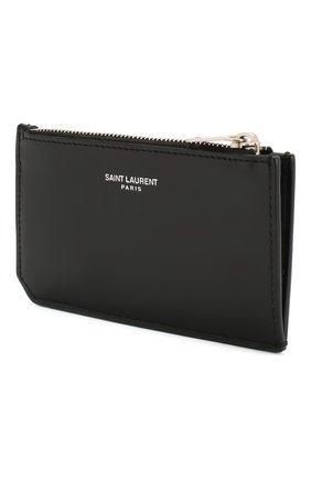 Мужской кожаный футляр для кредитных карт SAINT LAURENT черного цвета, арт. 612066/0VGUE | Фото 2