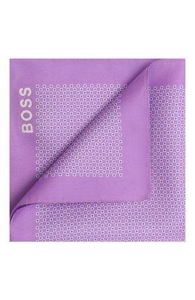 Мужской шелковый платок BOSS сиреневого цвета, арт. 50434750 | Фото 1