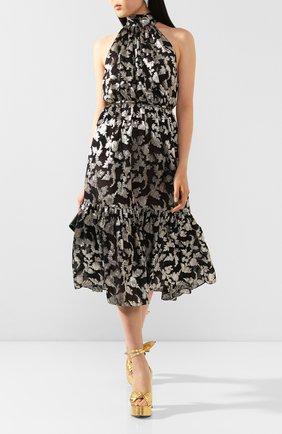 Женское шелковое платье SAINT LAURENT серебряного цвета, арт. 614663/Y927T   Фото 2