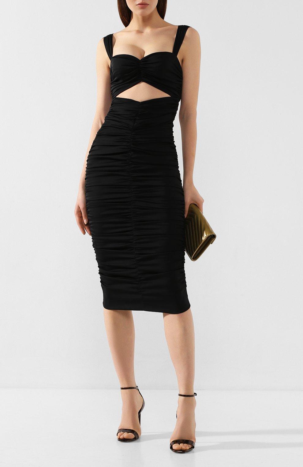 Женское шелковое платье DOLCE & GABBANA черного цвета, арт. F6I7YT/FUABF   Фото 2
