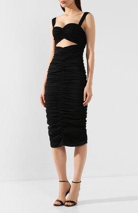 Женское шелковое платье DOLCE & GABBANA черного цвета, арт. F6I7YT/FUABF   Фото 3