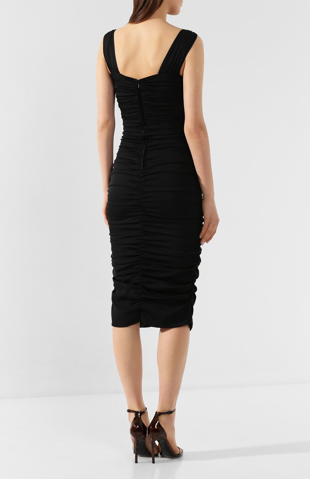 Женское шелковое платье DOLCE & GABBANA черного цвета, арт. F6I7YT/FUABF   Фото 4