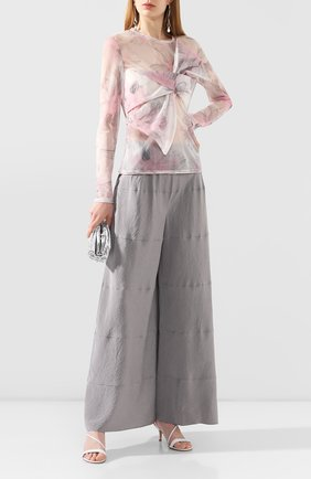 Женские шелковые брюки GIORGIO ARMANI серого цвета, арт. 0SHPP0CW/T01Q8 | Фото 2