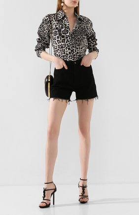 Женские кожаные босоножки cassandra SAINT LAURENT черного цвета, арт. 621535/0NPVV   Фото 2