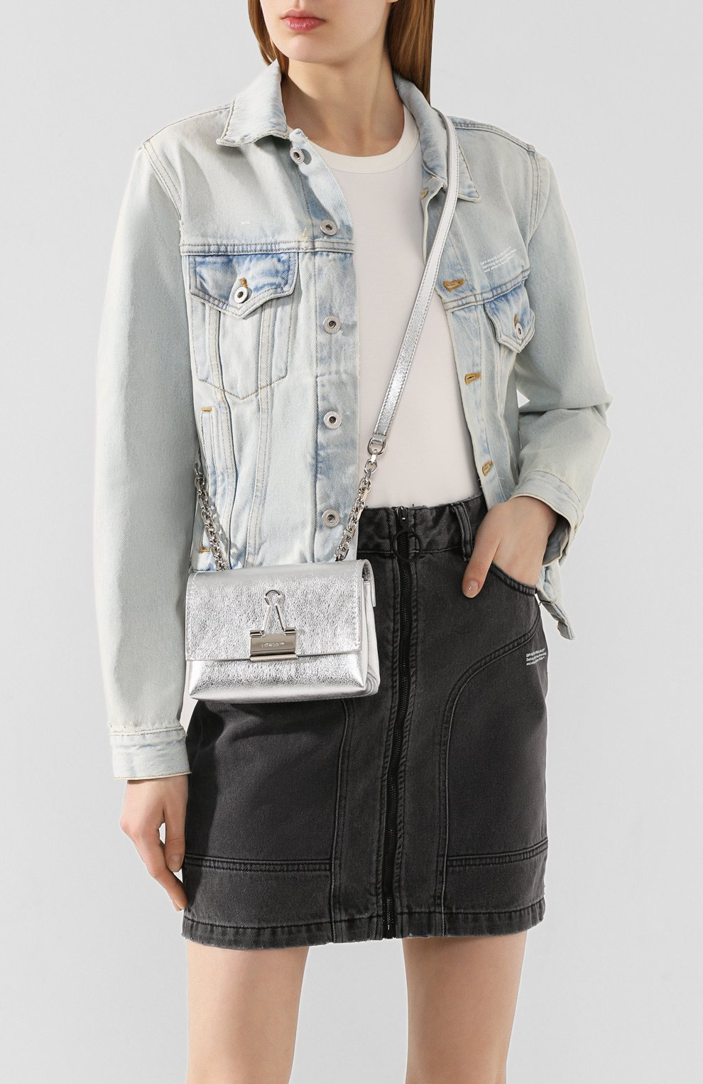 Женская сумка soft small OFF-WHITE серебряного цвета, арт. 0WNA121S20LEA0027200 | Фото 2