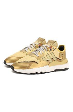 Женские комбинированные кроссовки nite jogger ADIDAS ORIGINALS золотого цвета, арт. EF5427 | Фото 1