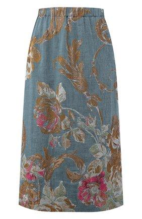 Женская юбка из смеси хлопка и льна DRIES VAN NOTEN синего цвета, арт. 201-10828-9362 | Фото 1