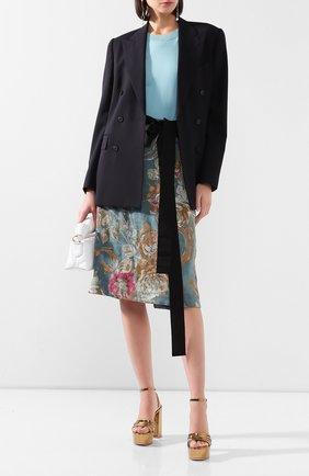 Женская юбка из смеси хлопка и льна DRIES VAN NOTEN синего цвета, арт. 201-10828-9362 | Фото 2