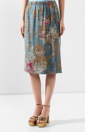 Женская юбка из смеси хлопка и льна DRIES VAN NOTEN синего цвета, арт. 201-10828-9362 | Фото 3
