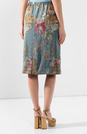 Женская юбка из смеси хлопка и льна DRIES VAN NOTEN синего цвета, арт. 201-10828-9362 | Фото 4