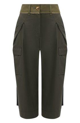 Женские хлопковые брюки SACAI хаки цвета, арт. 20-04855 | Фото 1