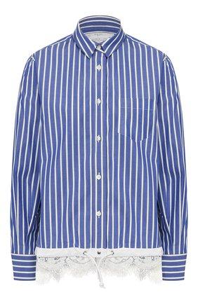 Женская рубашка в полоску SACAI синего цвета, арт. SCW-008 | Фото 1