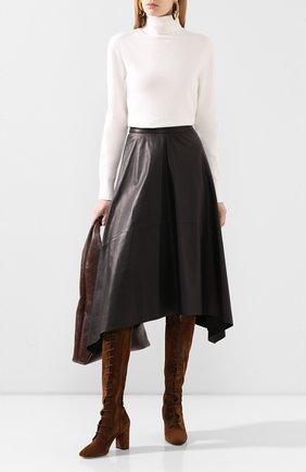 Женская кожаная юбка BRUNELLO CUCINELLI черного цвета, арт. M0TANG2911 | Фото 2