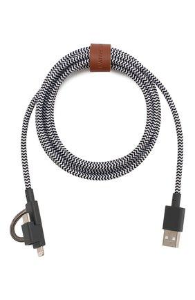 Мужской кабель usb/lightning/micro usb/usb-c, 2m NATIVE UNION черно-белого цвета, арт. BELT-KV-ULC-ZEB-V2 | Фото 1