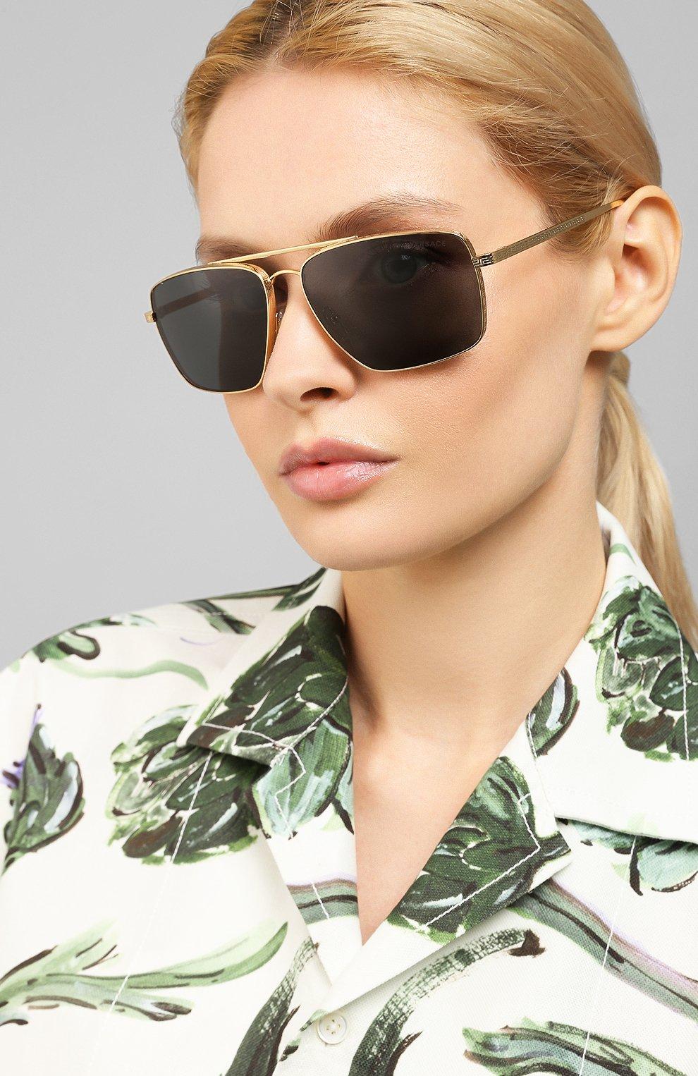 Женские солнцезащитные очки VERSACE черного цвета, арт. 2216-100287 | Фото 2