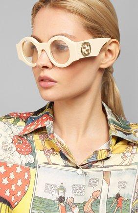 Женские солнцезащитные очки GUCCI бежевого цвета, арт. GG0629 002 | Фото 2