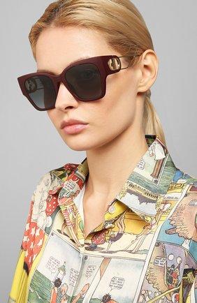 Женские солнцезащитные очки DIOR бордового цвета, арт. 30M0NTAIGNE1 LHF | Фото 2 (Тип очков: С/з; Очки форма: Прямоугольные; Оптика Гендер: оптика-женское)