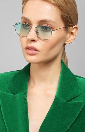 Женские солнцезащитные очки EYEPETIZER голубого цвета, арт. CLAIRE 1-21 | Фото 2 (Тип очков: С/з; Очки форма: Креативные, Прямоугольные; Оптика Гендер: оптика-унисекс)