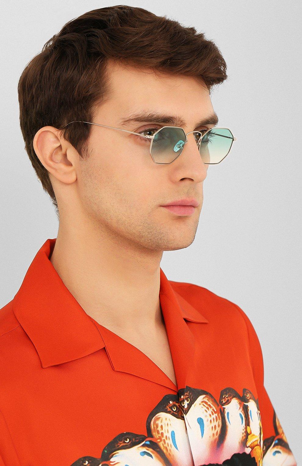 Женские солнцезащитные очки EYEPETIZER голубого цвета, арт. CLAIRE 1-21 | Фото 3 (Тип очков: С/з; Очки форма: Креативные, Прямоугольные; Оптика Гендер: оптика-унисекс)