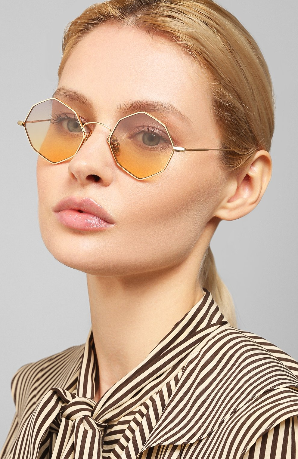 Женские солнцезащитные очки EYEPETIZER золотого цвета, арт. CHARL0TTE 4-19   Фото 2 (Тип очков: С/з; Очки форма: Креативные, Круглые; Оптика Гендер: оптика-унисекс)