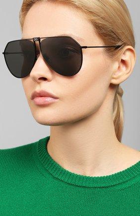 Женские солнцезащитные очки DOLCE & GABBANA черного цвета, арт. 2248-110687   Фото 2 (Тип очков: С/з; Очки форма: Авиаторы; Оптика Гендер: оптика-унисекс)