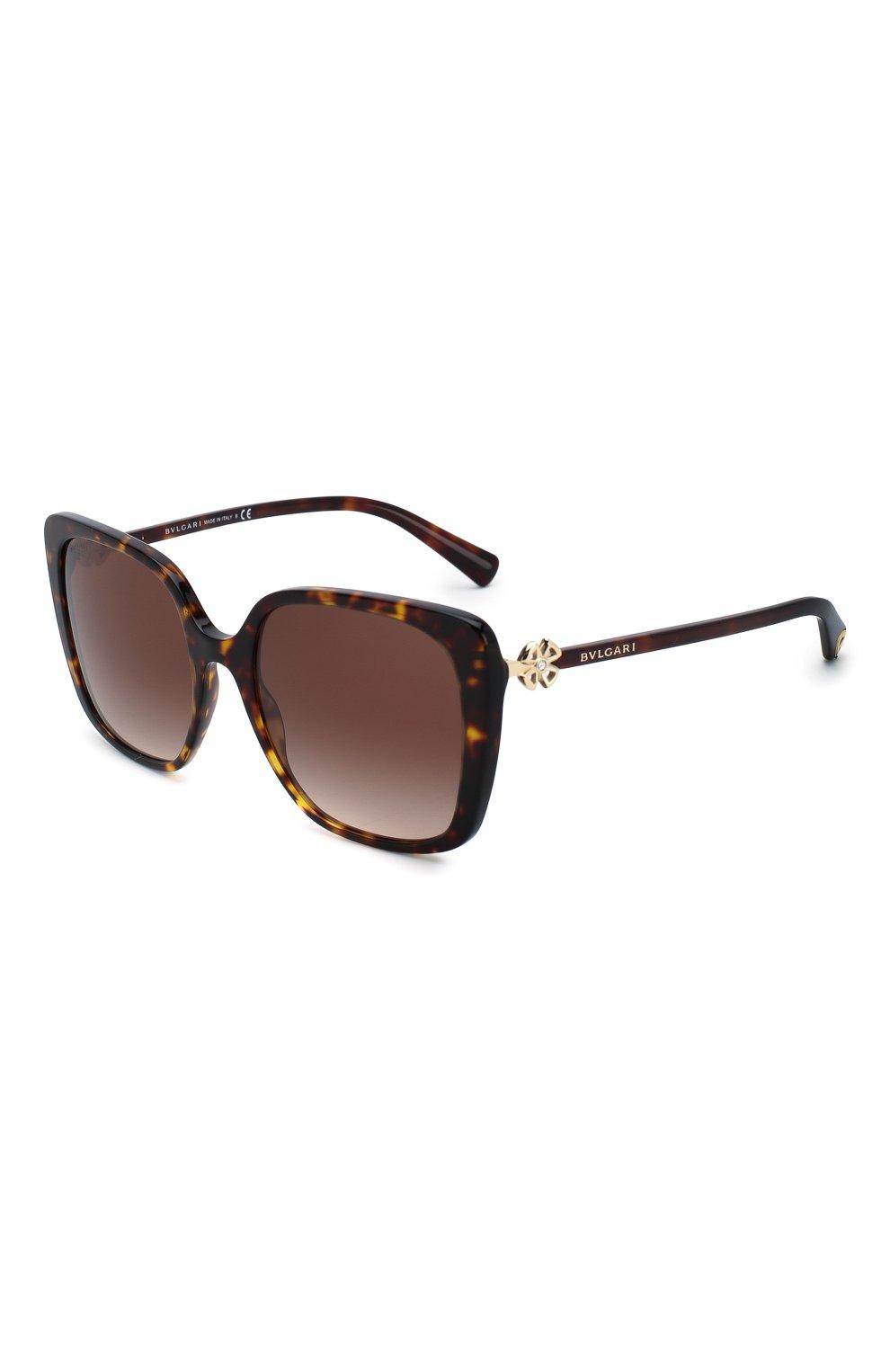 Женские солнцезащитные очки BVLGARI коричневого цвета, арт. 8225B-504/13 | Фото 1