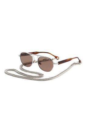 Мужские солнцезащитные очки ÉTUDES серебряного цвета, арт. CANDIDATE WHITE SILVER RT WITH CHAIN | Фото 1