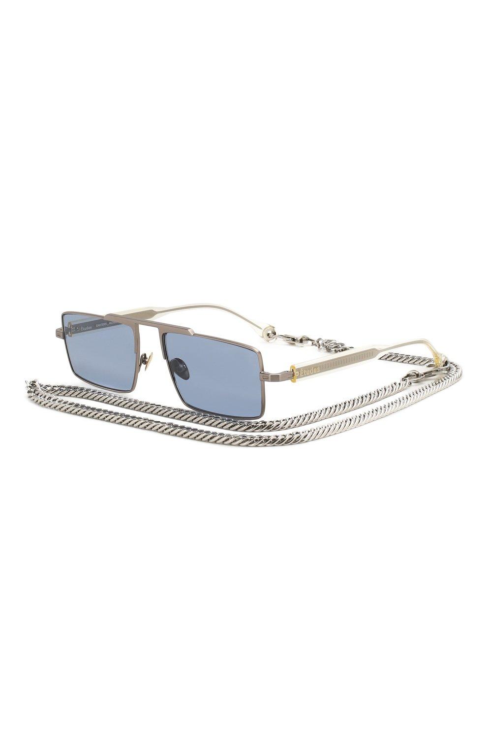 Женские солнцезащитные очки ÉTUDES серебряного цвета, арт. EASTERN SILVER CH WITH CHAIN   Фото 1