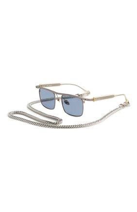Мужские солнцезащитные очки ÉTUDES серебряного цвета, арт. KARMA SILVER CH WITH CHAIN   Фото 1