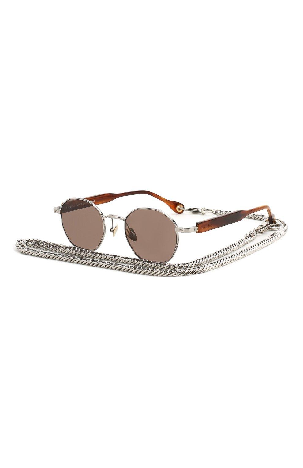 Женские солнцезащитные очки ÉTUDES серебряного цвета, арт. LIBERTE WHITE SILVER RT WITH CHAIN | Фото 1