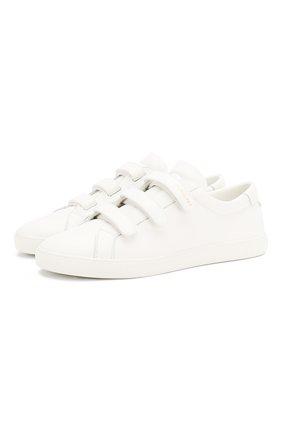Мужские кожаные кеды SAINT LAURENT белого цвета, арт. 605962/0ZS00 | Фото 1