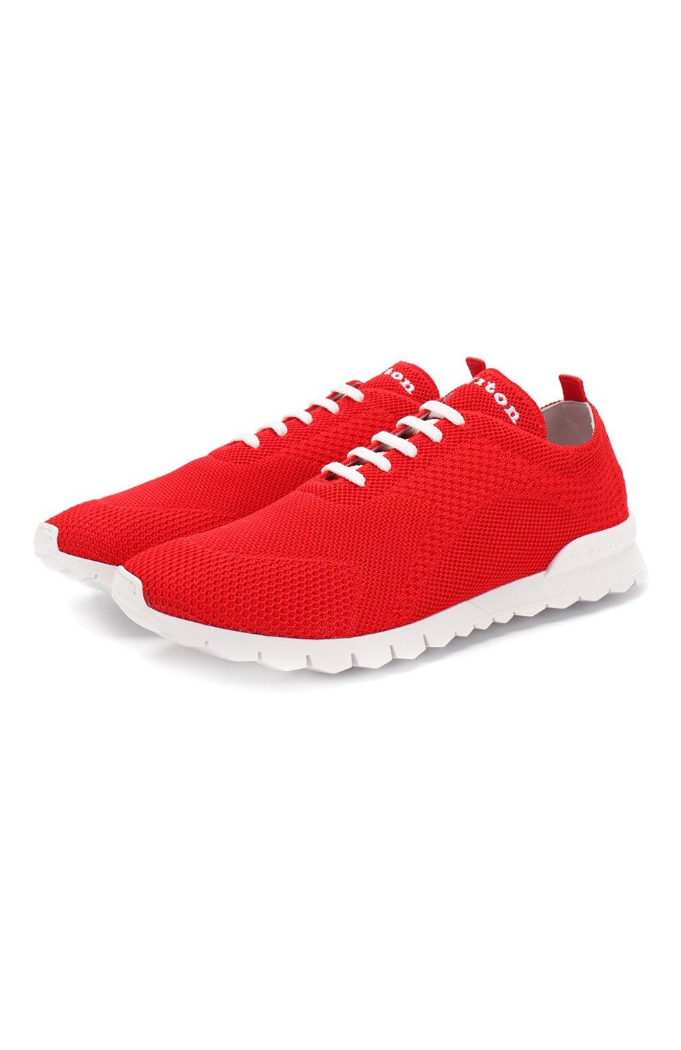 Мужские текстильные кроссовки KITON красного цвета, арт. USSFITSN00609 | Фото 1