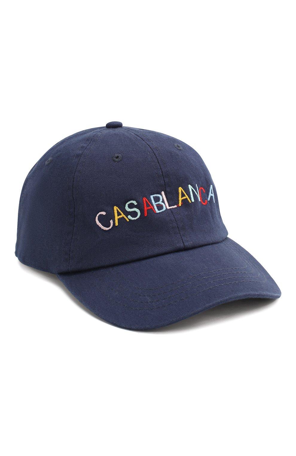 Мужской хлопковая бейсболка CASABLANCA темно-синего цвета, арт. AC20-HAT-002 CASA 0CEAN RES0RT CAP   Фото 1