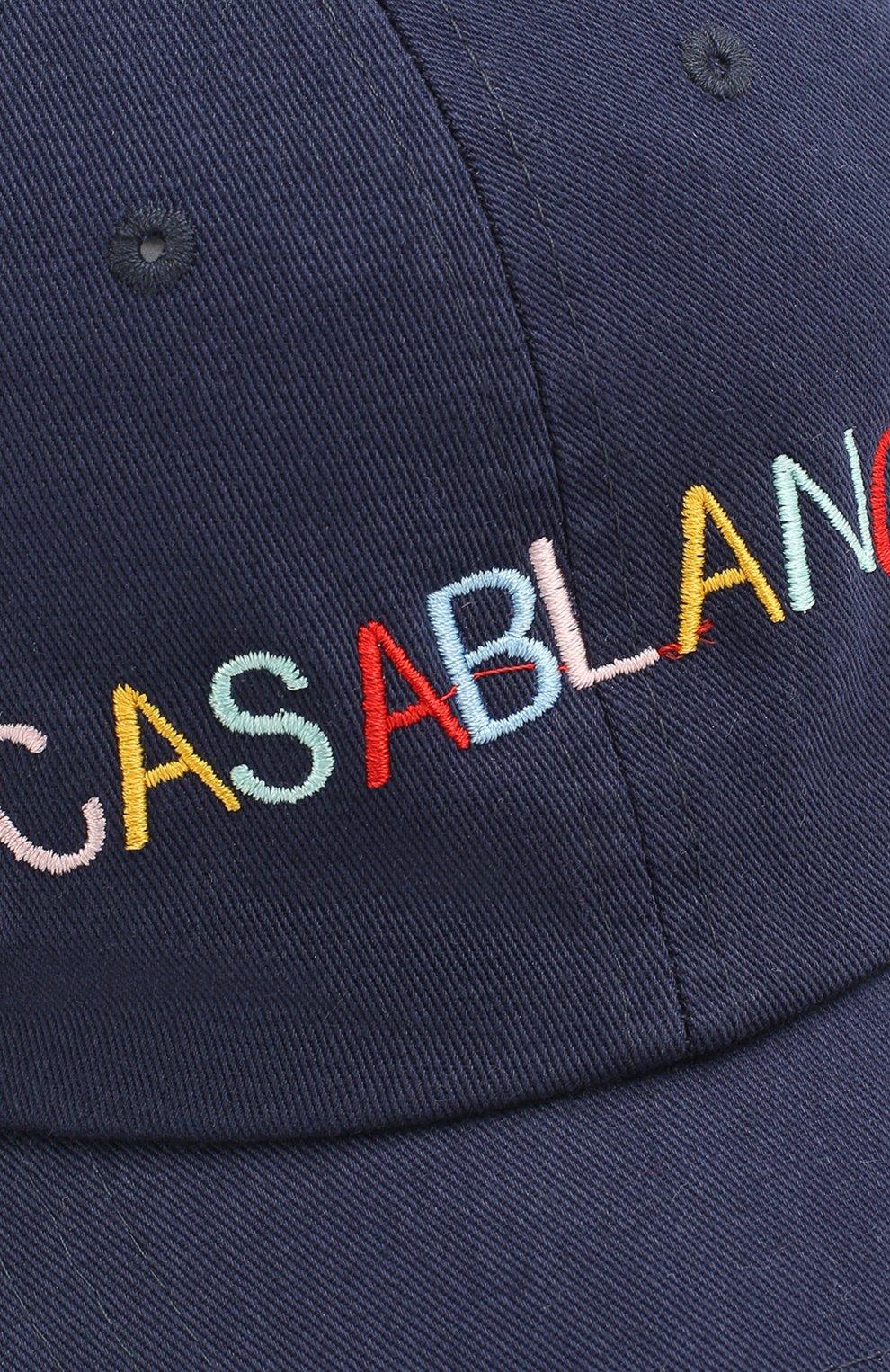 Мужской хлопковая бейсболка CASABLANCA темно-синего цвета, арт. AC20-HAT-002 CASA 0CEAN RES0RT CAP   Фото 2