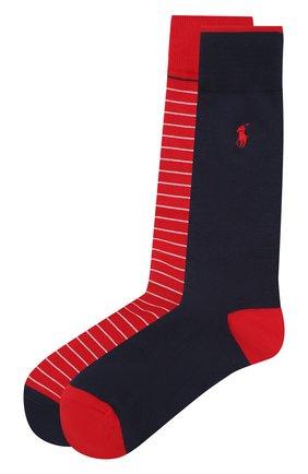 Мужские комплект из двух пар носков POLO RALPH LAUREN красного цвета, арт. 449799782 | Фото 1