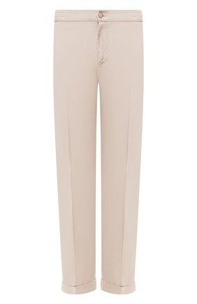 Мужской льняные брюки KITON бежевого цвета, арт. UFPLACJ07S40 | Фото 1