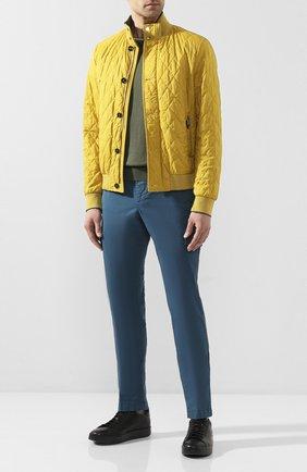 Мужской хлопковые брюки-карго ANDREA CAMPAGNA бирюзового цвета, арт. SUB/PF0350X   Фото 2