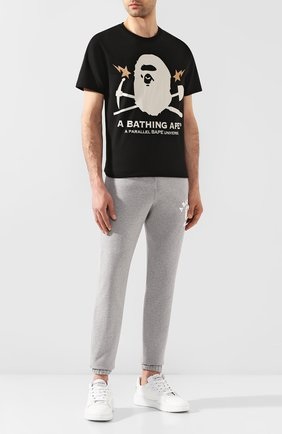 Мужской хлопковые джоггеры BAPE серого цвета, арт. 1G30152004 | Фото 2