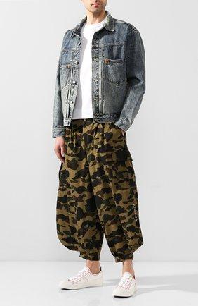 Мужской хлопковые брюки BAPE зеленого цвета, арт. 1G20152005 | Фото 2
