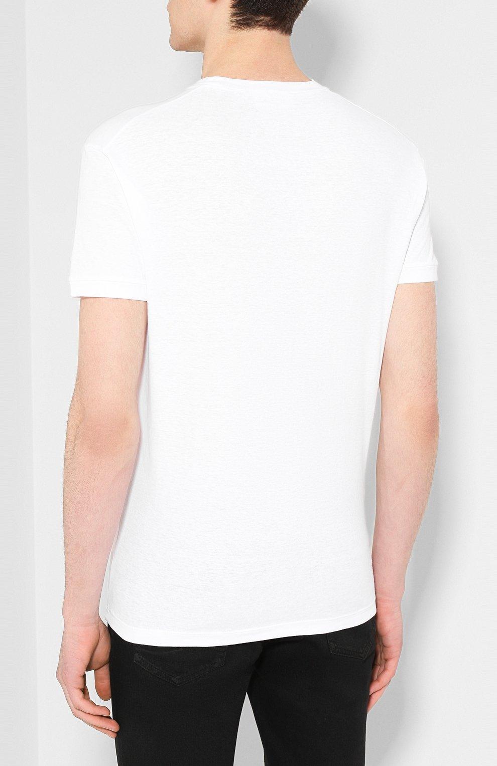 Мужская хлопковая футболка DSQUARED2 белого цвета, арт. S71GD0902/S22507 | Фото 4