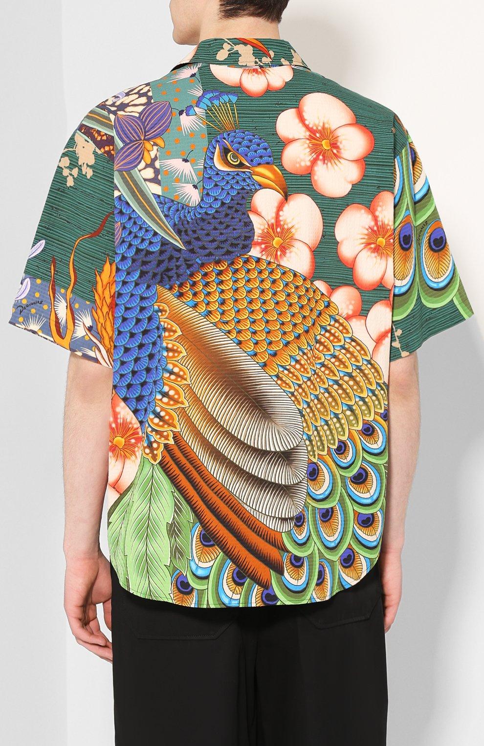 Мужская хлопковая рубашка DSQUARED2 разноцветного цвета, арт. S71DM0405/S52839 | Фото 4