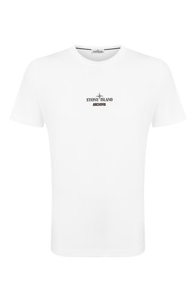 Мужская хлопковая футболка STONE ISLAND белого цвета, арт. 72152NS92 | Фото 1
