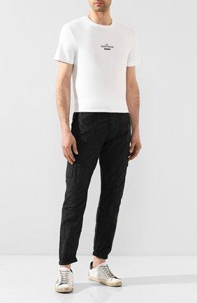 Мужская хлопковая футболка STONE ISLAND белого цвета, арт. 72152NS92 | Фото 2