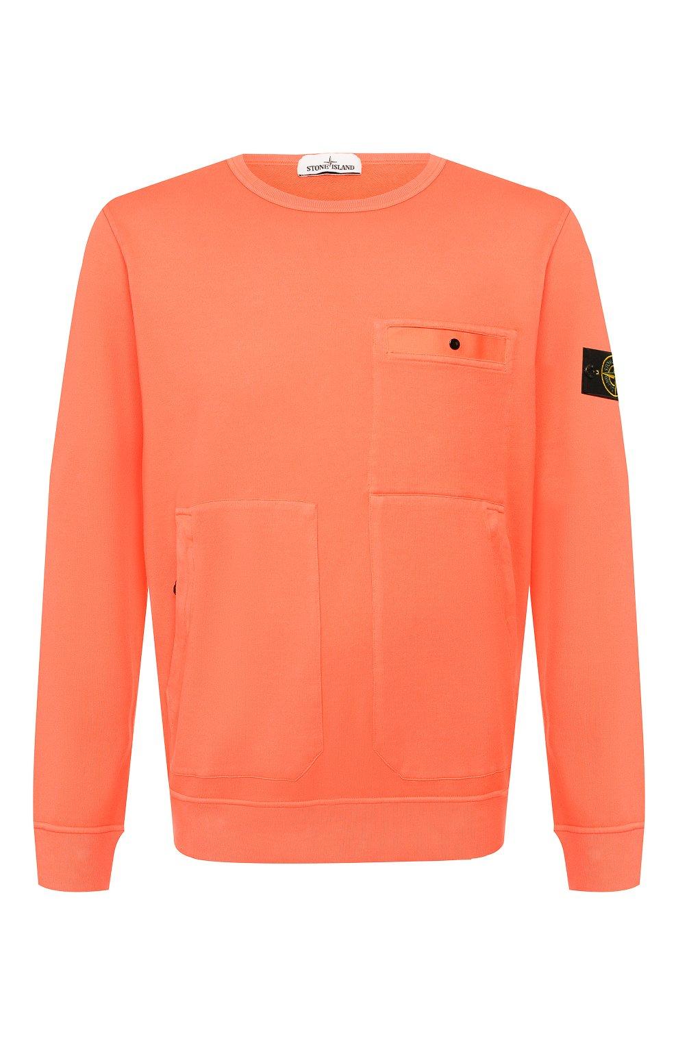 Мужской хлопковый свитшот STONE ISLAND оранжевого цвета, арт. 721561759 | Фото 1