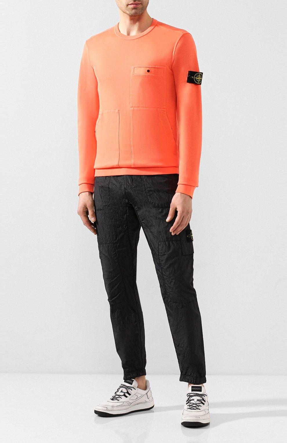 Мужской хлопковый свитшот STONE ISLAND оранжевого цвета, арт. 721561759 | Фото 2