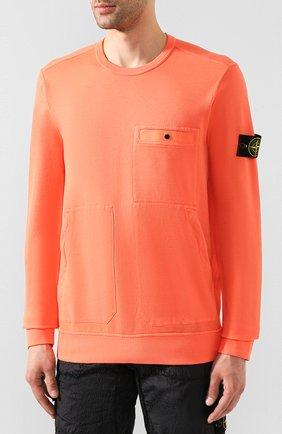 Мужской хлопковый свитшот STONE ISLAND оранжевого цвета, арт. 721561759 | Фото 3