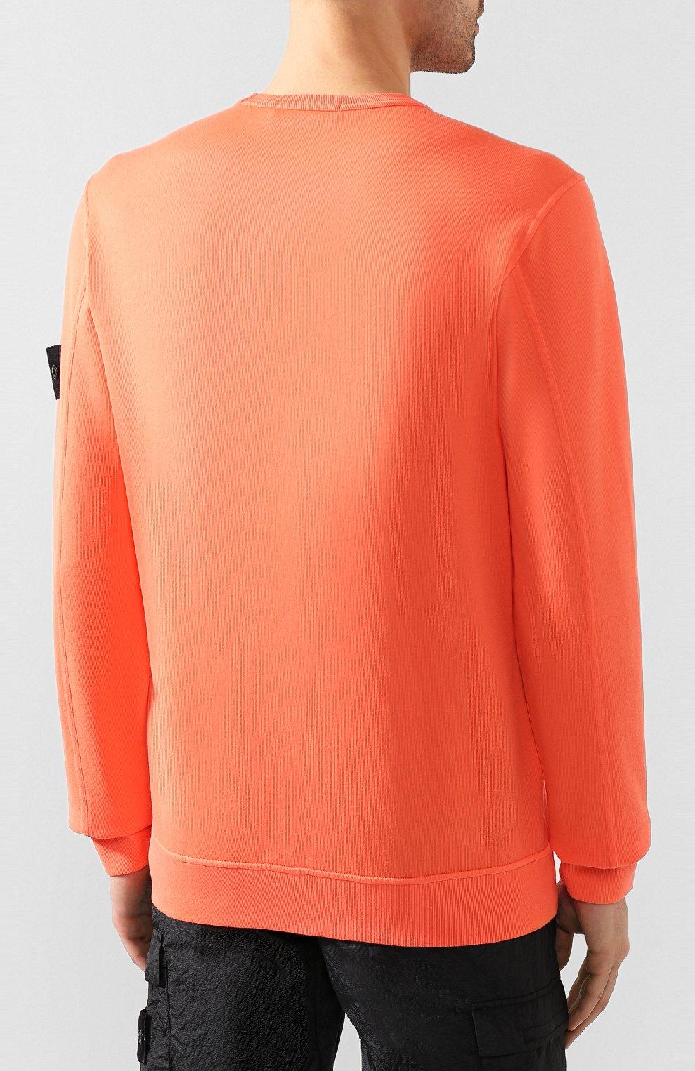 Мужской хлопковый свитшот STONE ISLAND оранжевого цвета, арт. 721561759 | Фото 4