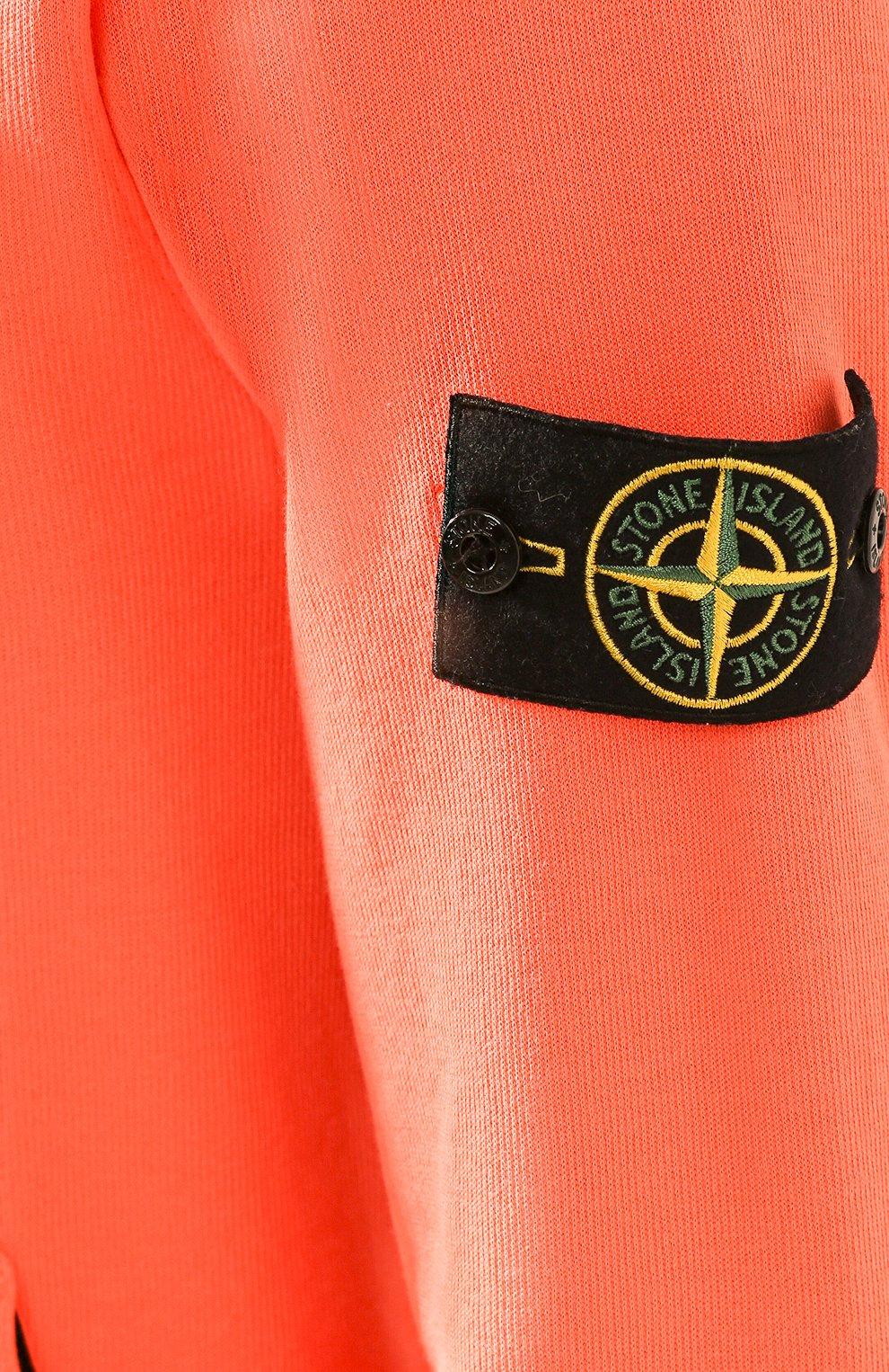 Мужской хлопковый свитшот STONE ISLAND оранжевого цвета, арт. 721561759 | Фото 5