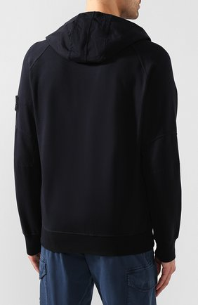 Мужской хлопковое худи STONE ISLAND темно-синего цвета, арт. 7215636F3 | Фото 4
