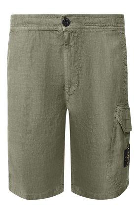 Мужские льняные шорты STONE ISLAND хаки цвета, арт. 7215L0301 | Фото 1
